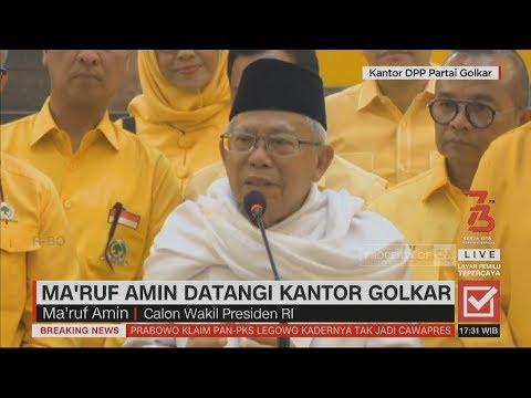 Ma'ruf Amin Datangi Kantor Golkar, Bersilaturahmi & Ucapkan Terima Kasih; Pilpres 2019