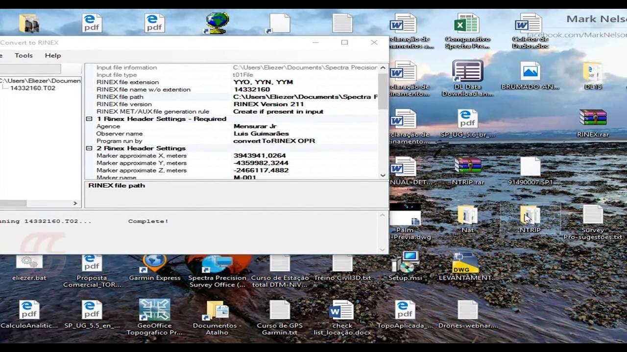 GPS TRIMBLE Converter um arquivo em formato Rinex novo formato