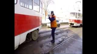 Трамвай съехал с рельс