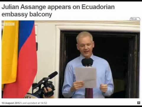 ASSANGE SPEECH ECUADOR EMBASSY 19Aug12 -- CREDIT BBC