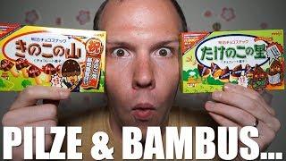 Japanische Snack-Pilze (きのこ) und Snack-Bambussprösslinge (たけのこ) 【japanische Snacks】