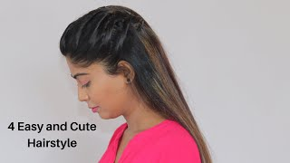 4 Easy And Cute Everyday HAIRSTYLES  For School, College, Work | Rinkal Soni