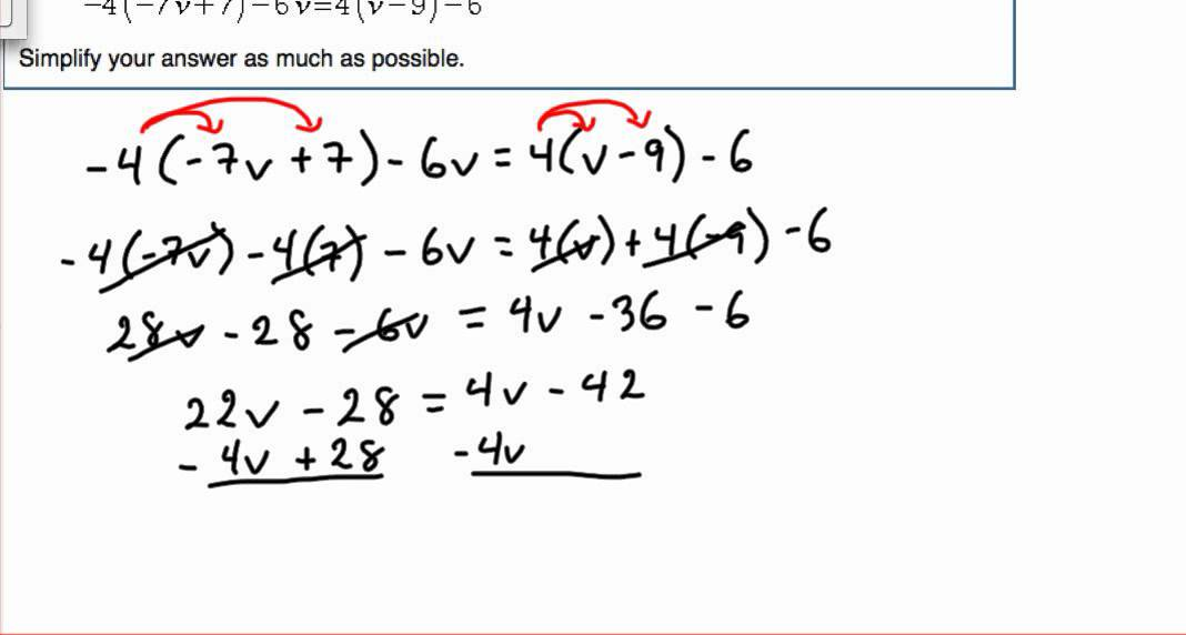 Solve multi-step equation with variables on both sides (module 3 ...
