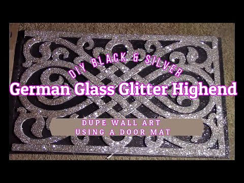 High End Dupe DIY Black & Silver German Glass Glitter Wall Art /w A Doormat