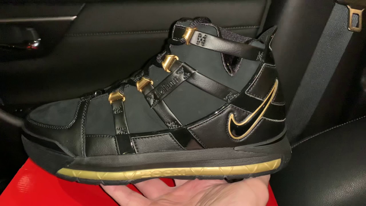 Nike Zoom Lebron 3 black gold shoes
