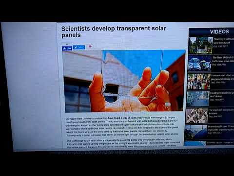 MICHIGAN STATE UNIVERSITY SCIENTISTS DEVELOP TRANSPARENT SOLAR PANELS