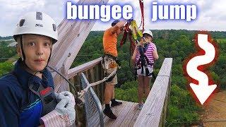 80 FOOT BUNGEE JUMP DARE! Alyssa Vs. David