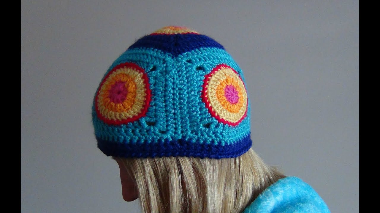 How to Crochet Granny Square Hat - YouTube dd8066ddffd