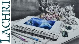 Time Lapse drawing sketchbook Graphite and colored pencil speed painting by Lachri