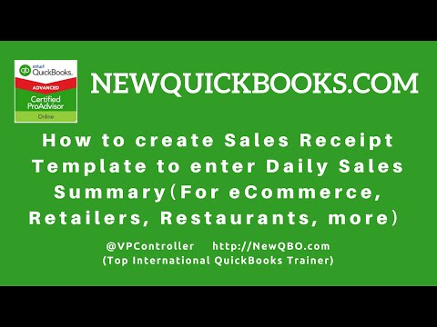 QuickBooks Pro Premier Desktop - how to create sales receipt template to enter daily sales summary