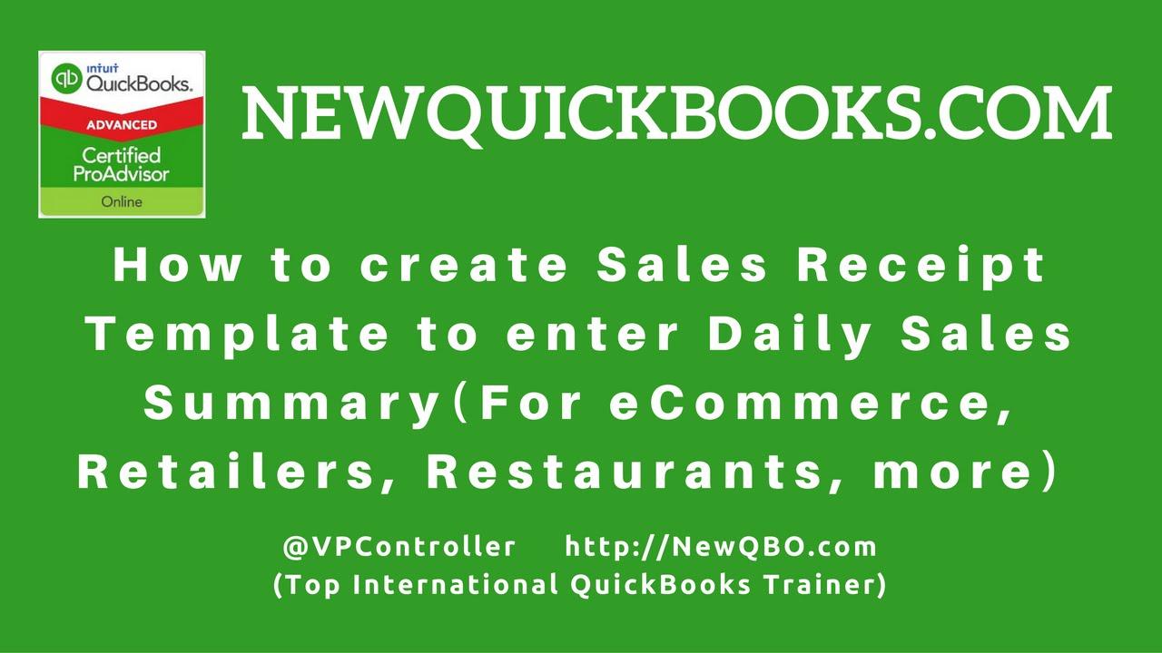 quickbooks pro premier desktop how to create sales receipt
