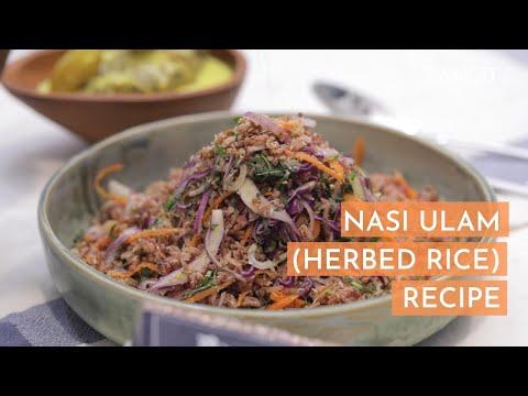 Nasi Ulam Recipe. Colourful Herbed Rice.