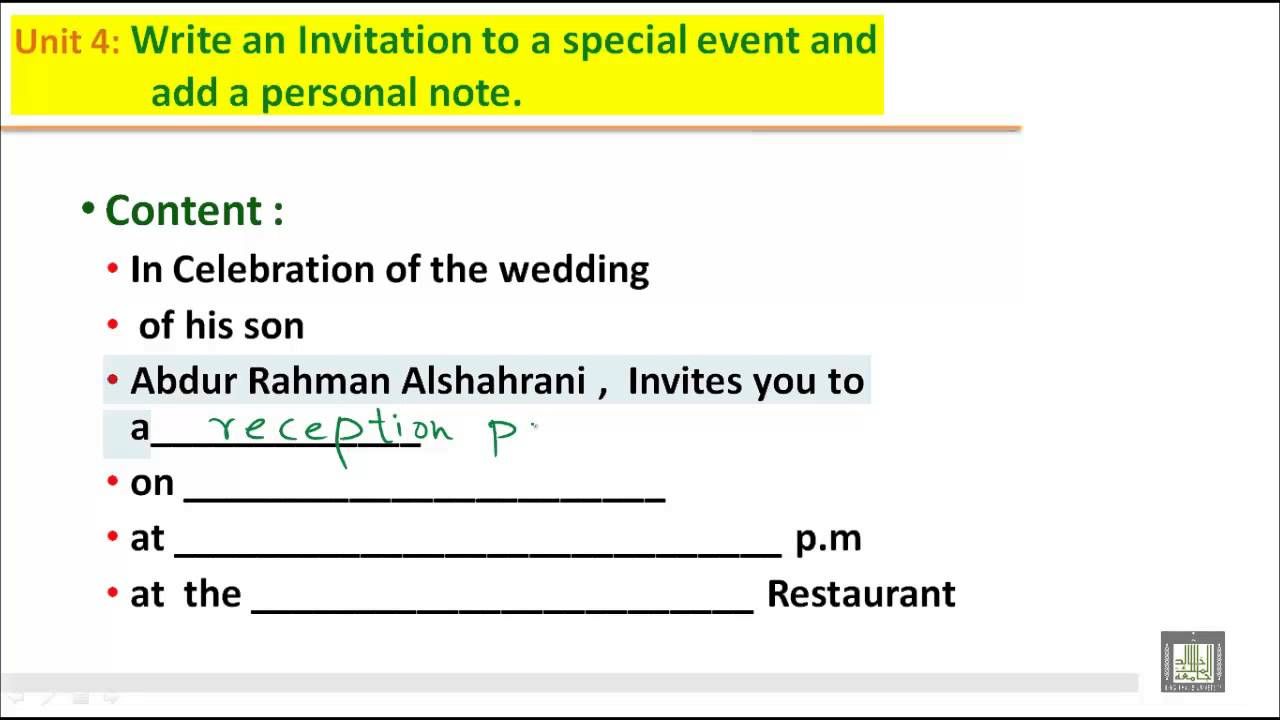 Writing B2 U4 Write An Invitation To A Special Event And Add A