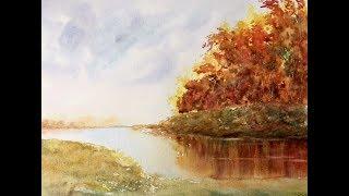 Осенний пейзаж акварелью. Рисуем группу деревьев губкой. Trees with the sponge in WC.