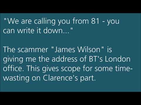 British Telecom BT Technical Department Scam James Wilson 001 949 715 7933 Prank Call