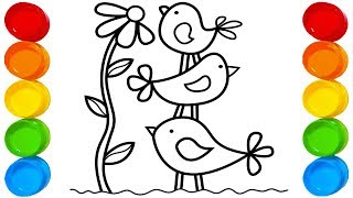 How To Drawing Birds & Crocodile -  2 Different Design For Kids -  Kids Coloring Pages