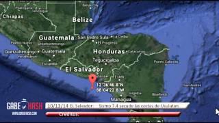 SISMO MAGNITUD 7.4 SACUDE LAS COSTAS DE USULUTAN, EL SALVADOR HOY 13 DE OCTUBRE 2014