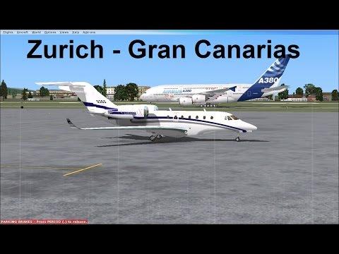 [FSX Cessna CitationX] Zurich-Gran Canarias Cockpit view with ATC!