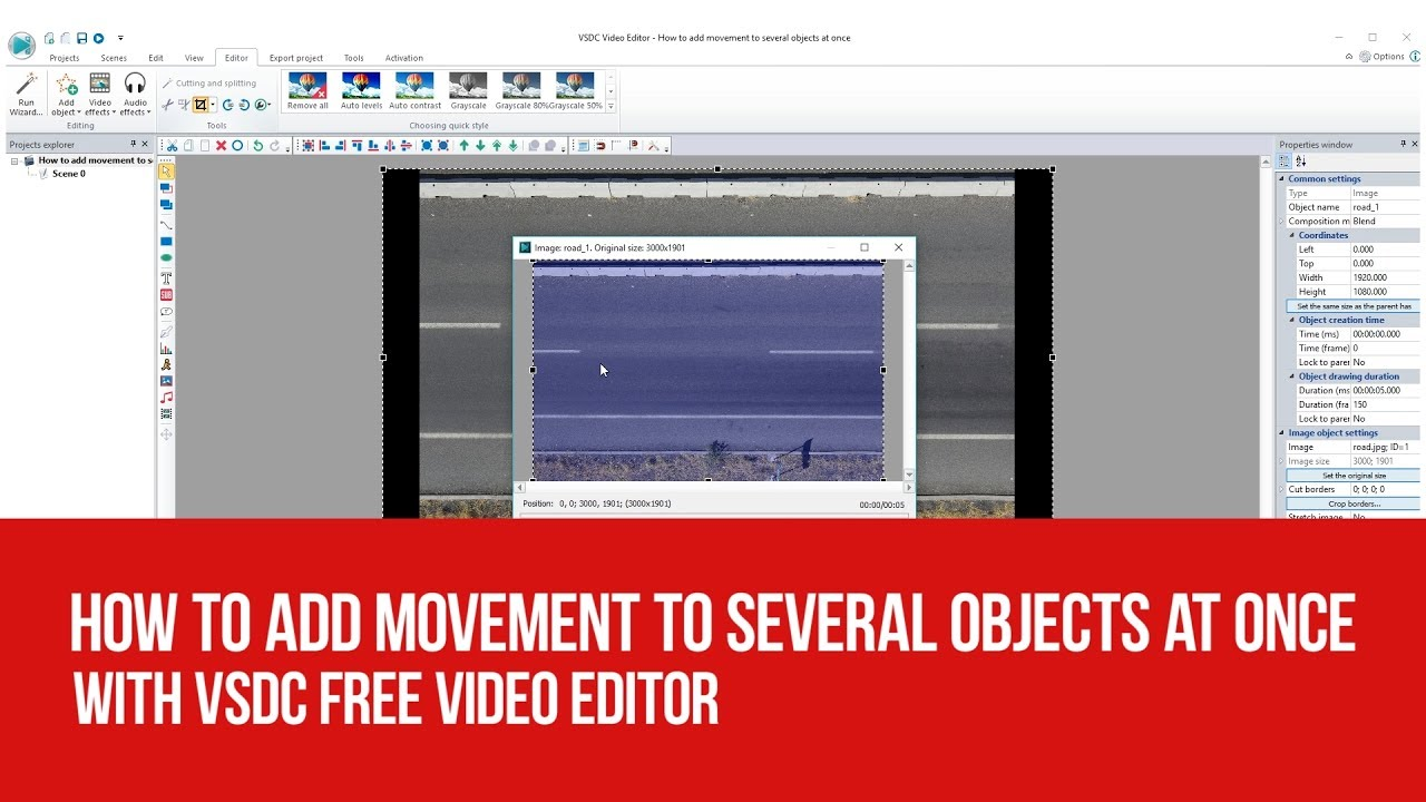 How to add movement to several objects at once with VSDC Free Video Editor
