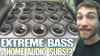 Loud CAR BASS using HOME AUDIO Subwoofers!?! and 20 SUNDOWN 8 inch SUBS in a HUGE Ported Box Install