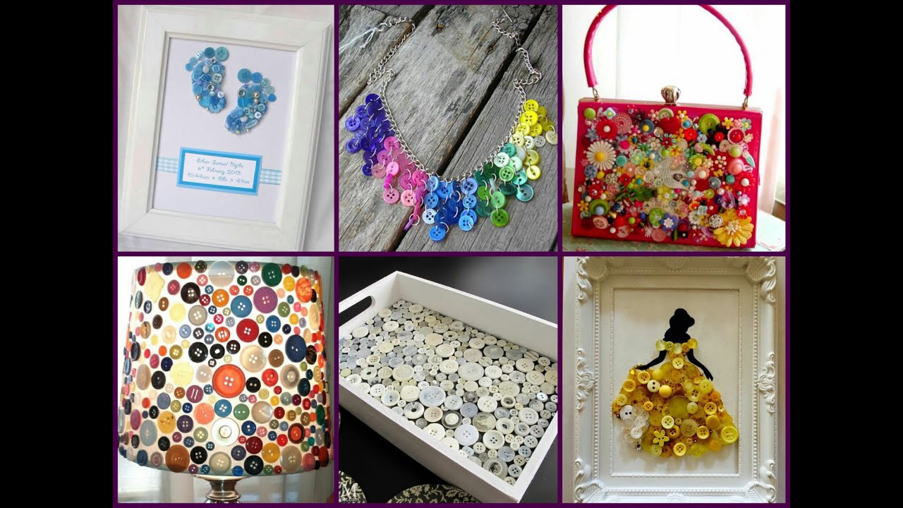 Recycled Button Crafts Ideas Easy Diy Button Projects Youtube inside Craft Ideas On Youtube