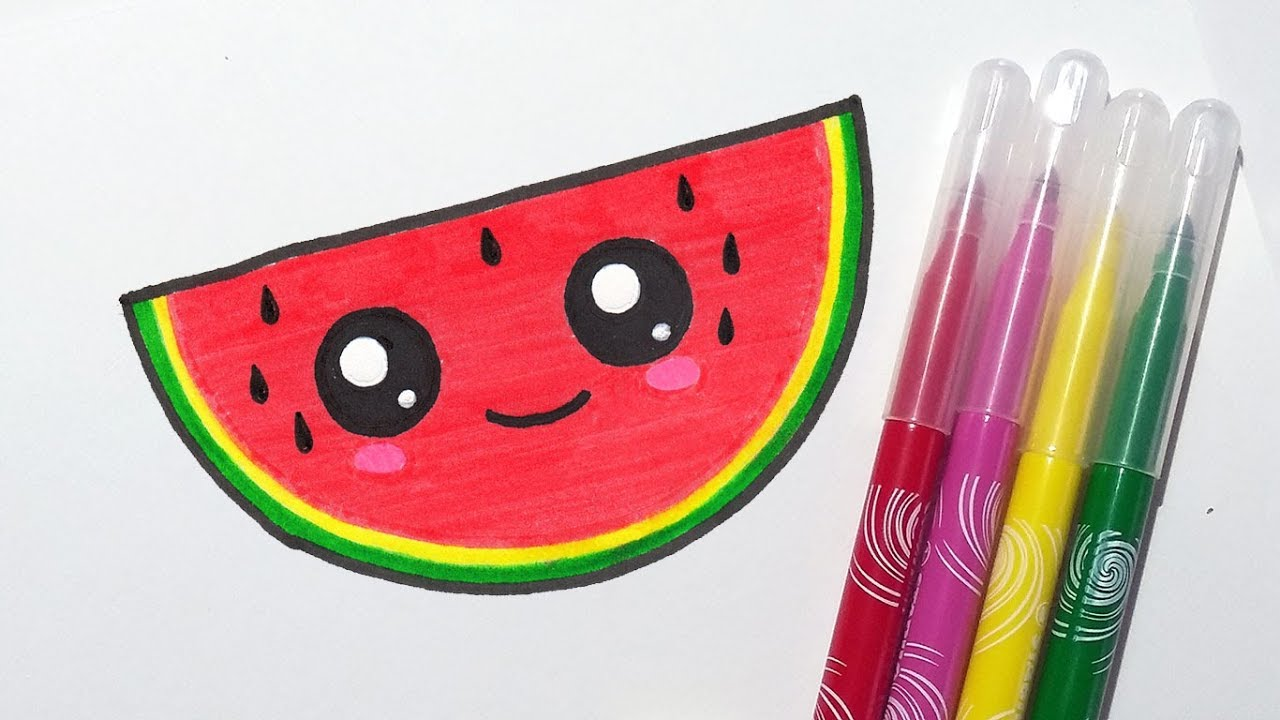 How To Draw Cute Watermelon Slice Step By Step Easy Drawing