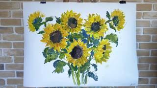 школа рисования уроки рисования акварель подсолнухи букет lets paint school