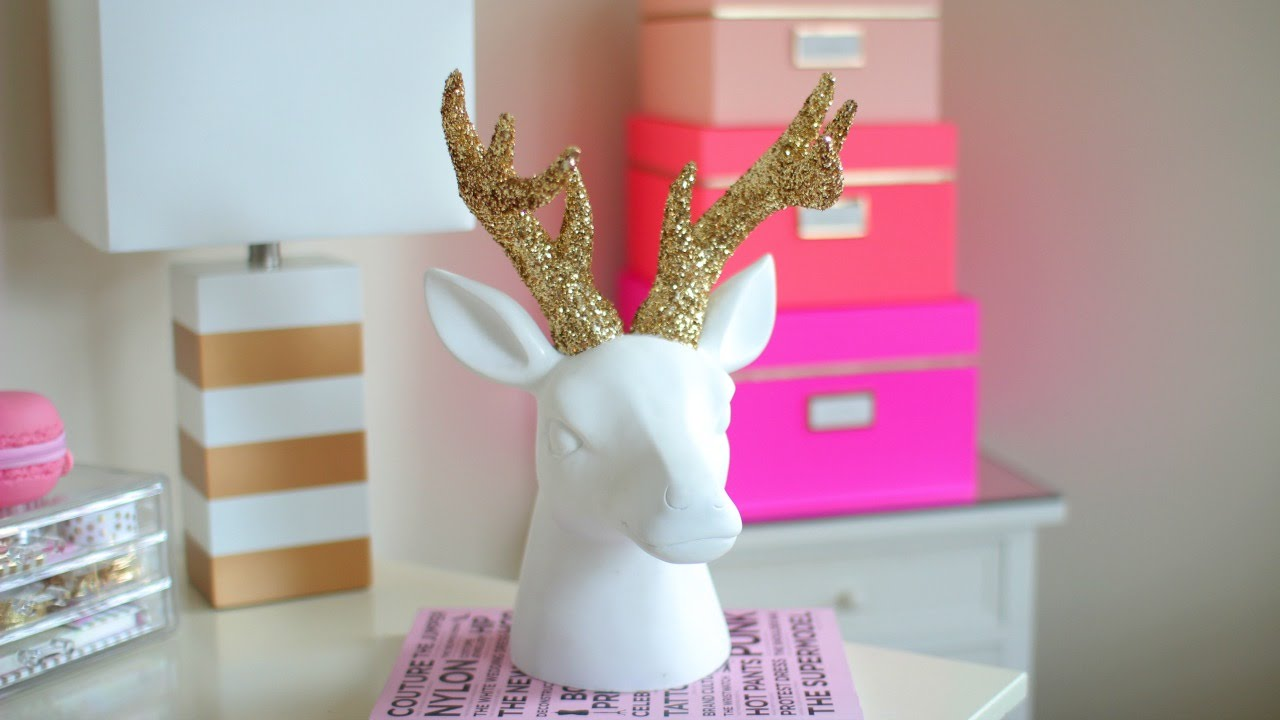 Diy Chrismas Winter Room Decor Sparkly Deer Head Youtube