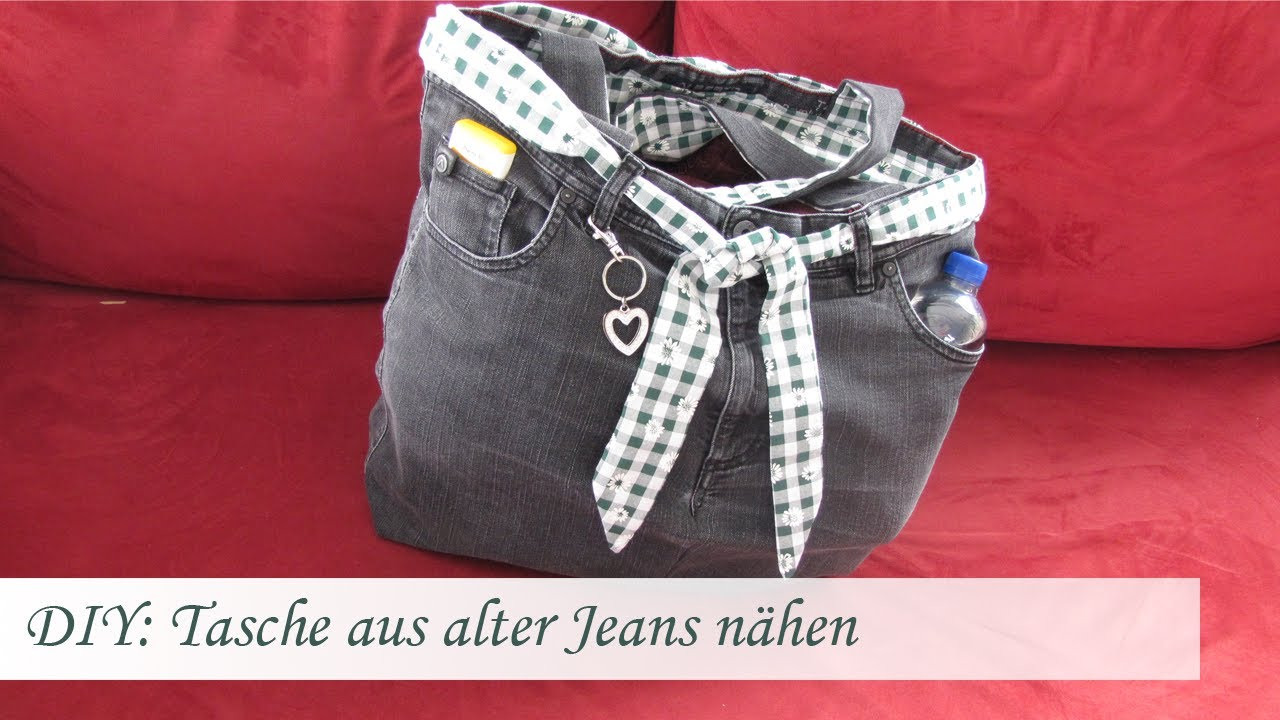 diy einfache tasche n hen aus einer alten jeans f r n hanf nger youtube. Black Bedroom Furniture Sets. Home Design Ideas