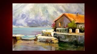 Урок живописи с нуля  Как нарисовать Дом у воды  Александр Южаков 1