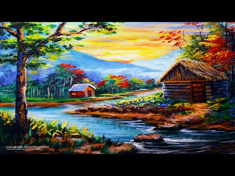 RIVER LANDSCAPE with Cabin House BASIC PAINTING TUTORIAL BEGINNERS | LEARN EASY ACRYLIC ART LESSON