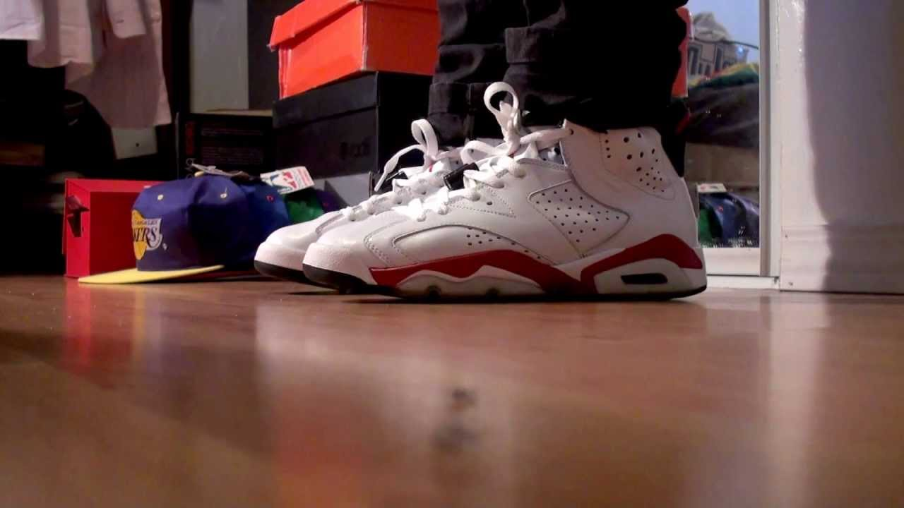 5bafff19b4a0 Air Jordan VI (6) White Varsity Red on feet - YouTube