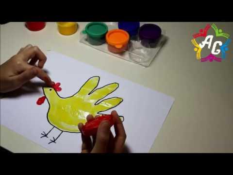 Пальчиковые краски. Рисуем петушка ладонью.Рисунки для малышей/finger paints. shuffling rooster hand
