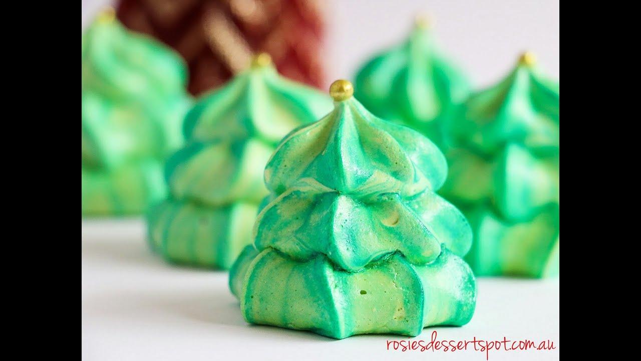 two toned christmas tree meringue rosies dessert spot - Christmas Tree Meringues