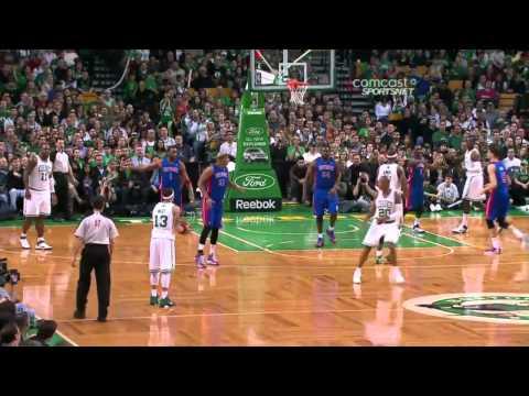 Delonte West amazing three point pass-shot vs Pistons (Apr 3, 2011)
