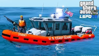 GTA 5 LSPDFR Coastal Callouts Update - New Coast Guard Boats With Static Machine Guns & Real Flags