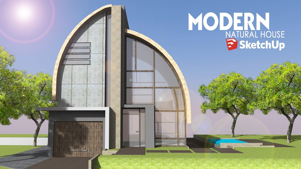 Sketchup Speed Build Modern Natural House YouTube
