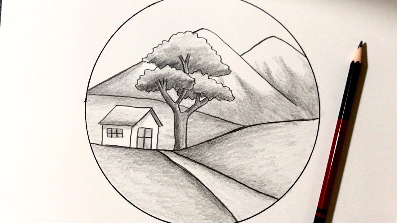 Hướng Dẫn Vẽ Tranh Phong Cảnh ĐƠN GIẢN Với Bút Chì | how to draw easy scenery with pencil | Tất tần tật những tài liệu về vẽ tranh bằng bút chì đơn giản chi tiết nhất