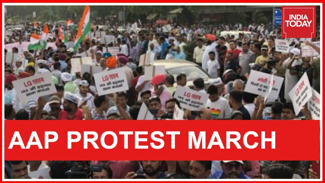 Massive Show Of Strength By AAP Workers In Delhi, CPI(M) Joins AAP Protest March