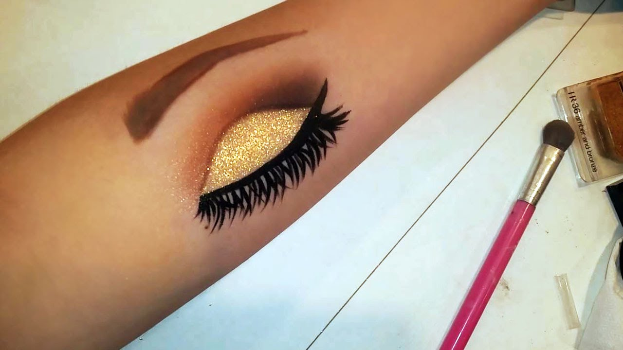 How to draw eye makeup on your arm youtube ccuart Images