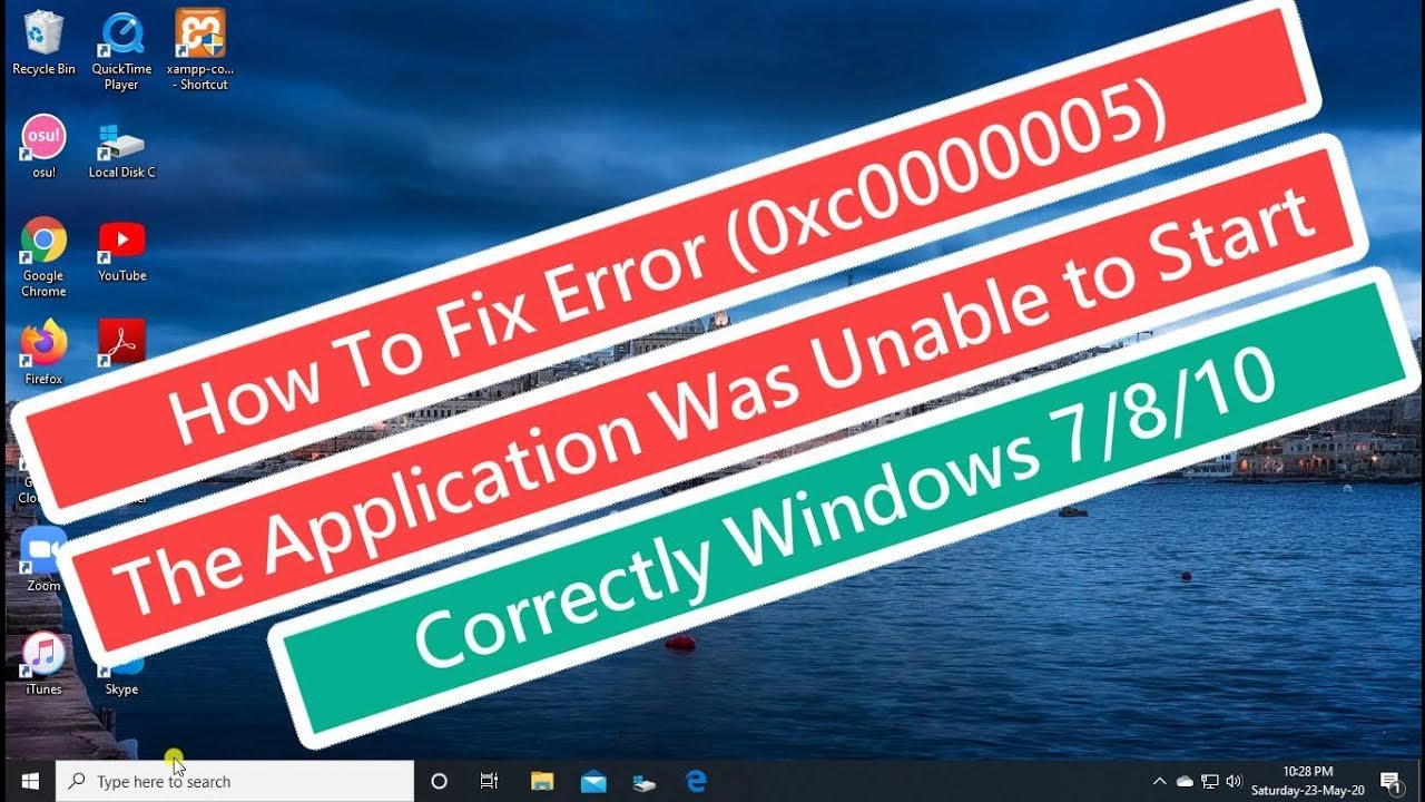 Download How to Fix Error (0xc0000005) The Application was unable to start Correctly Windows 7/8/10