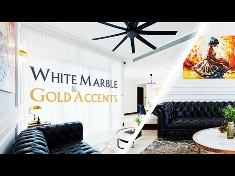 LUXURY INTERIOR WITH WHITE MARBLE AND GOLD ACCENTS