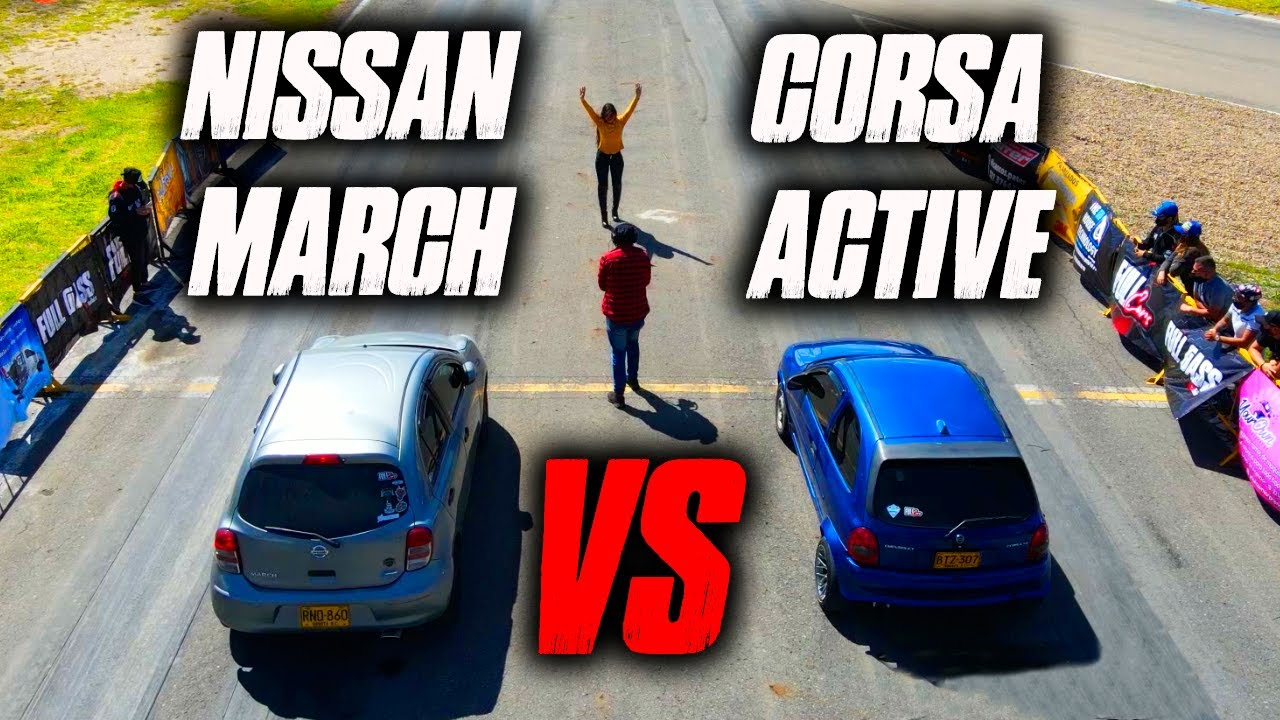 Corsa Active VS Nissan March 1/4 de Milla Drag Race
