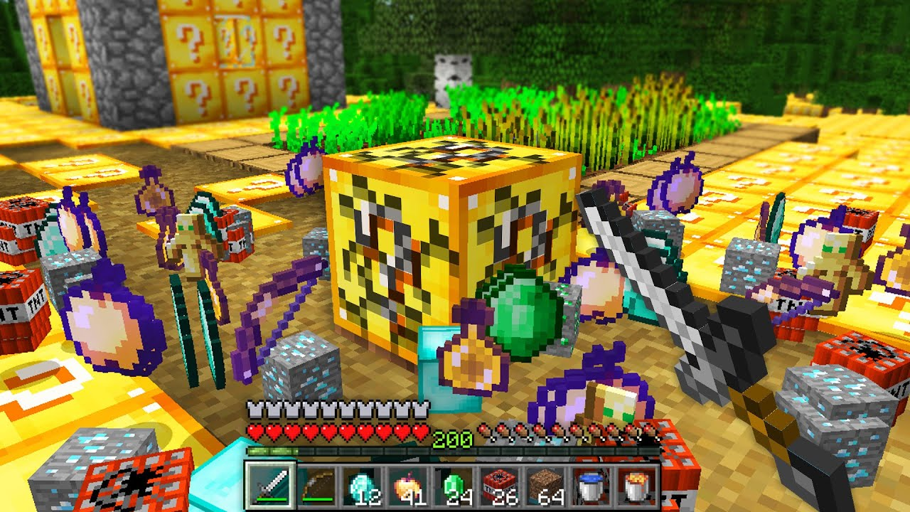 the entire world is lucky blocks in this Minecraft UHC..
