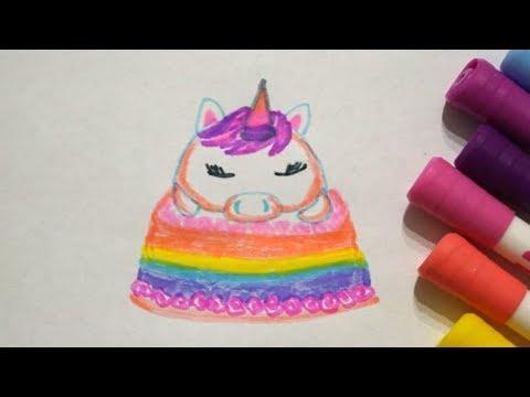 Einhorn Torte Zeichnen Kuchen Malen How To Draw Unicorn Cake