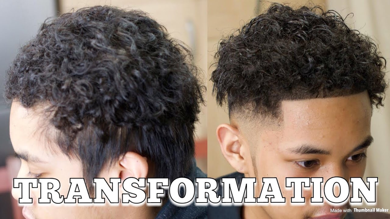 how to skinfade with permed hair (curly on top) transformation *full  haircut*