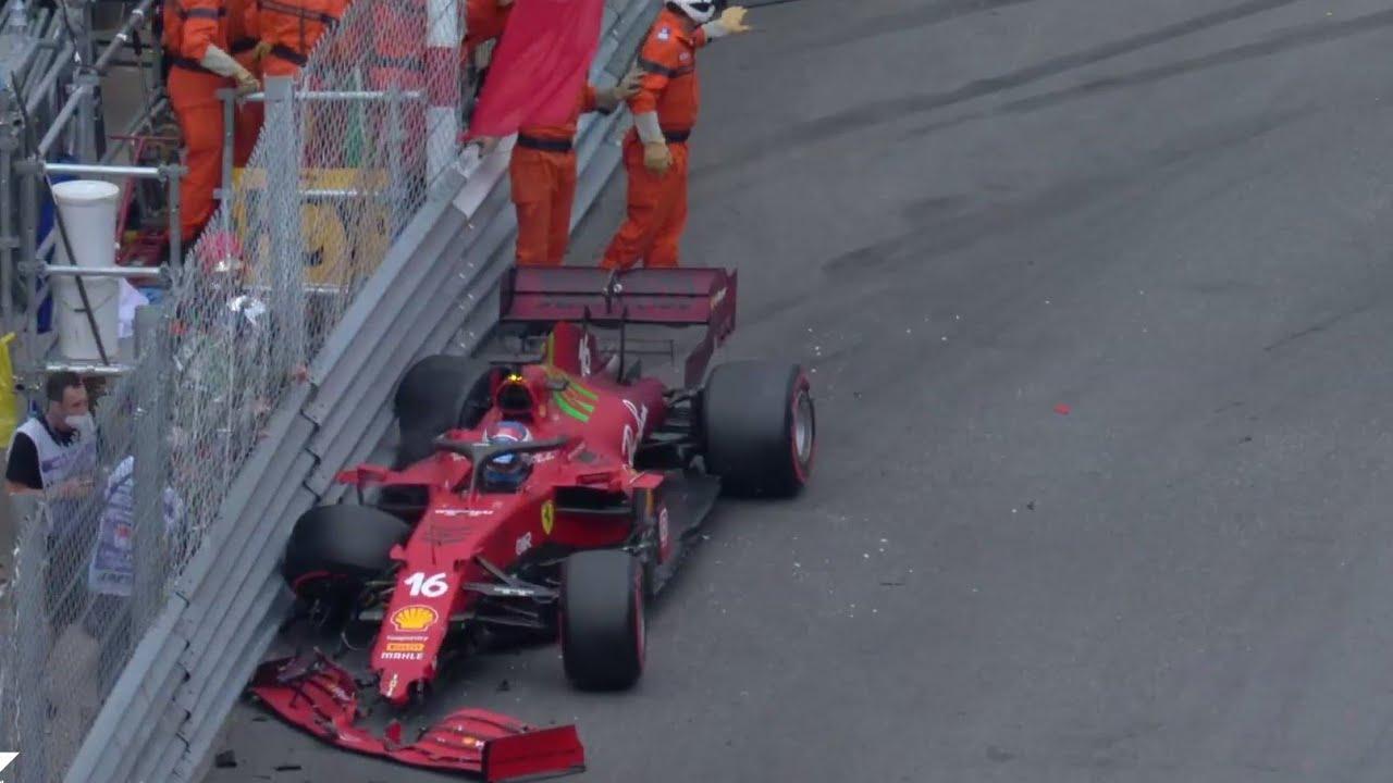 Charles Leclerc takes Monaco F1 pole despite crash, Hamilton ...