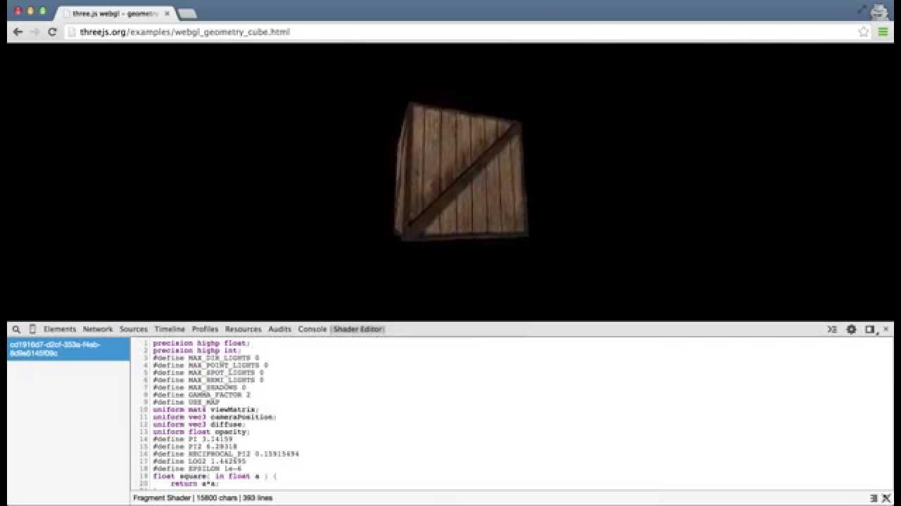 WebGL Shader Editor extension demo