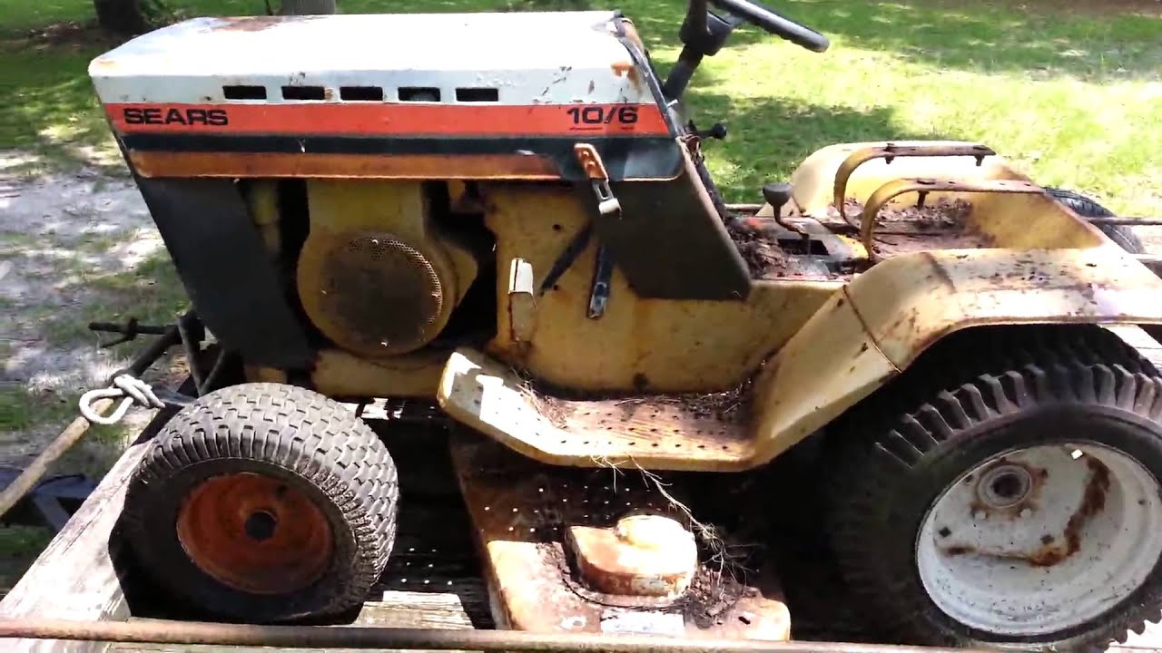 1977 Sears 10/6 garden tractor - YouTube