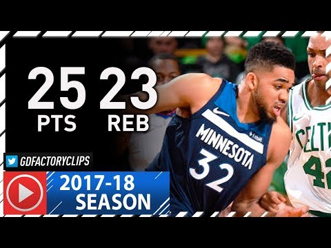 Karl-Anthony Towns Full Highlights vs Celtics (2018.01.05) - 25 Pts, 23 Reb